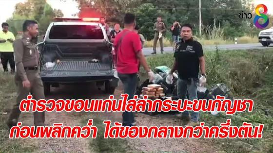 ตำรวจขอนแก่นไล่ล่ากระบะขนกัญชา ก่อนพลิกคว่ำ ได้ของกลางกว่าครึ่งตัน!