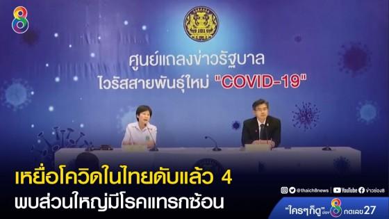 ผู้ป่วยโควิด-19ในไทย เสียชีวิตแล้ว 4 คน พบส่วนใหญ่มีโรคประจำตัว