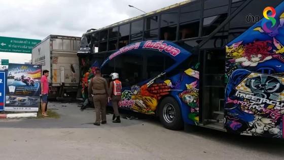รถบัสนักศึกษาเพลาคันส่งหน้าหลุด พุ่งชนท้ายรถ 6 ล้อ นักศึกษาเจ็บ 6 ราย