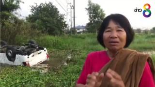 หญิงฮีโร่ ลุยหนองน้ำใช้ค้อนทุบกระจกช่วยคนเจ็บออกจากรถรอดหวุดหวิด...