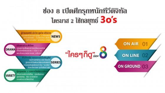 ช่อง 8 เปิดศึกรุกหนักทีวีดิจิทัล ไตรมาส 2 อัดคอนเทนต์ใหม่ ยึดเรทติ้งผู้นำทีวีเมืองไทย