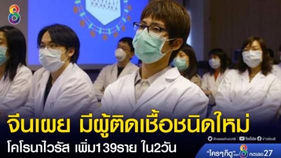 ประเทศจีนเผย มีผู้ติดเชื้อชนิดใหม่ โคโรนาไวรัส เพิ่ม 139 ราย