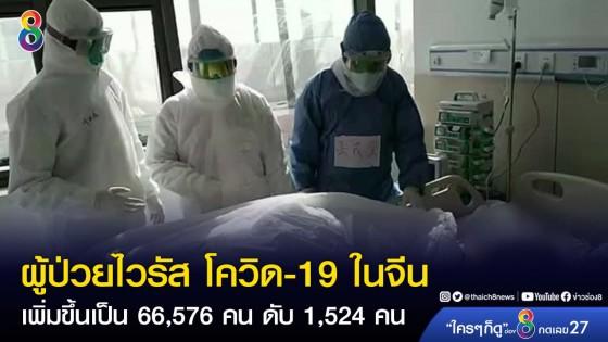 ยอดผู้ป่วยไวรัส โควิด-19 ในจีน เพิ่มขึ้นเป็น 66,576 คน เสียชีวิตสะสม...