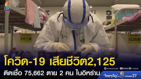 """""""โควิด-19"""" เสียชีวิต 2,125 ติดเชื้อ 75,662  ตาย 2 คน..."""