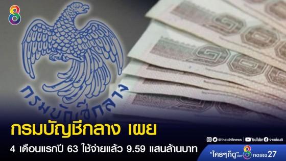 กรมบัญชีกลาง เผย ผลใช้จ่ายเงิน 4 เดือนแรกปี 63 ใช้จ่ายแล้ว 9.59...