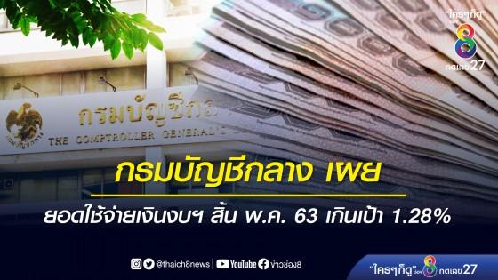 บัญชีกลาง เผย ยอดใช้จ่ายเงินงบประมาณ สิ้น พ.ค. 63 เกินเป้า 1.28%
