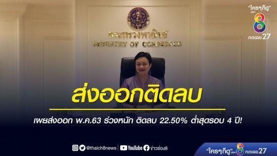 พาณิชย์ เผย พ.ค.ส่งออกติดลบ -22.50% โตต่ำสุดในรอบ 4 ปี