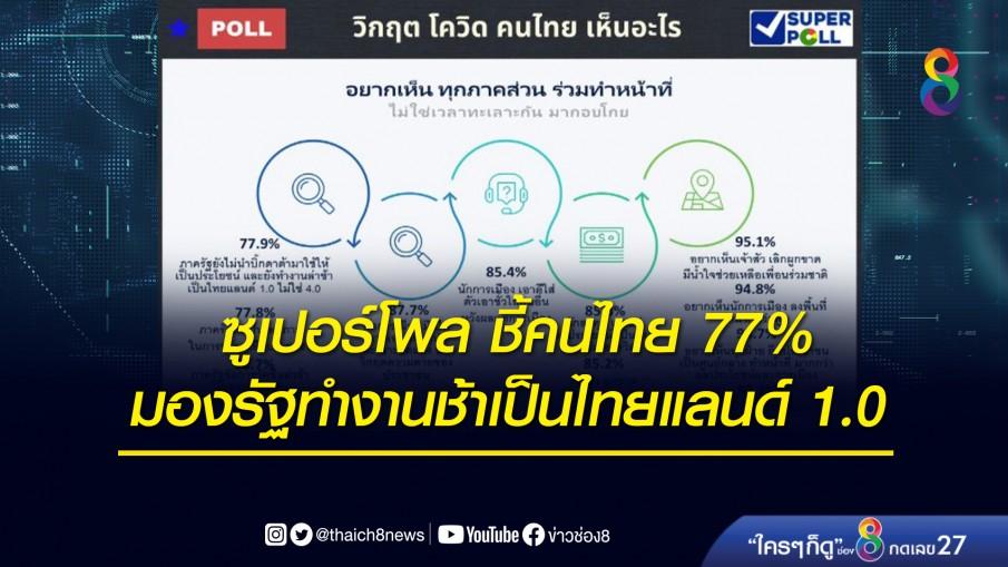 ซูเปอร์โพล ชี้คนไทย 77% มองรัฐทำงานช้าเป็นไทยแลนด์ 1.0